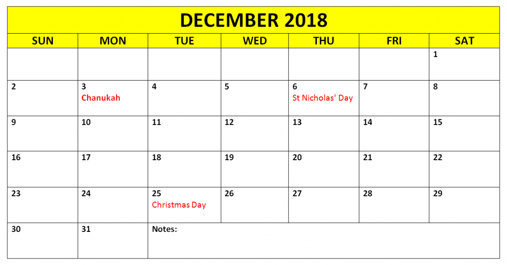 December 2018 Calendar With Holidays South Africa