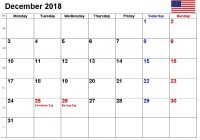 December 2018 Calendar With Holidays US