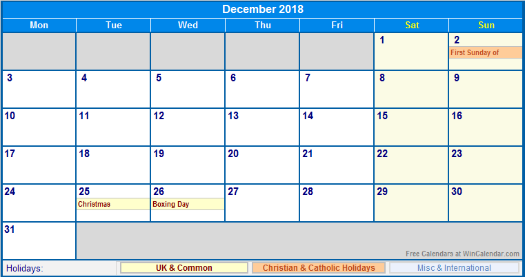 December 2018 Calendar With Holidays USA UK Canada India