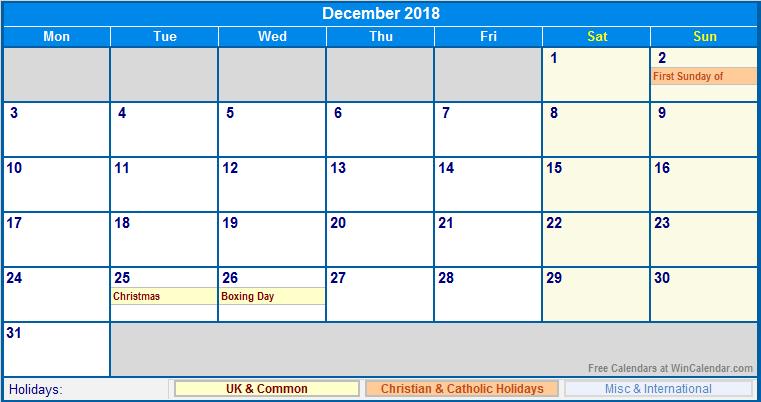 December 2018 Calendar With Holidays USA UK Canada India