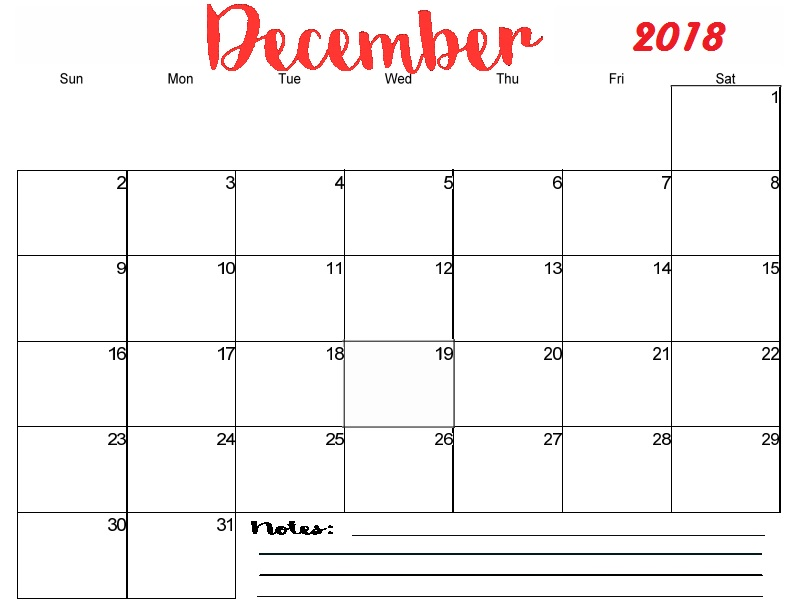 December 2018 Calendar With Notes