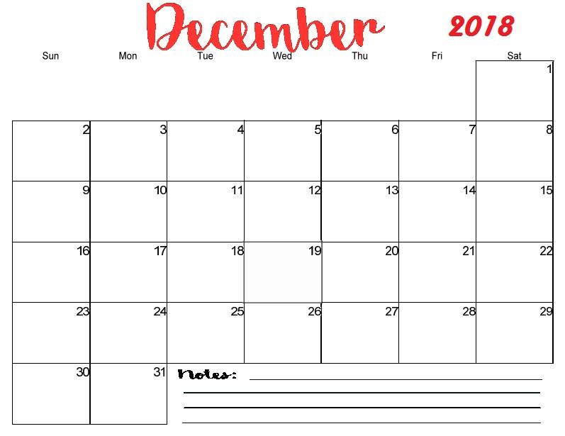 December 2018 Calendar With Notes