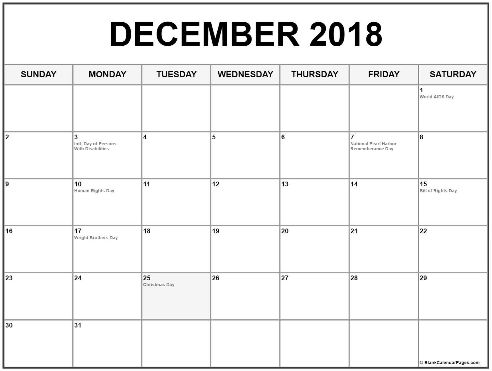 December 2018 Holidays Calendar