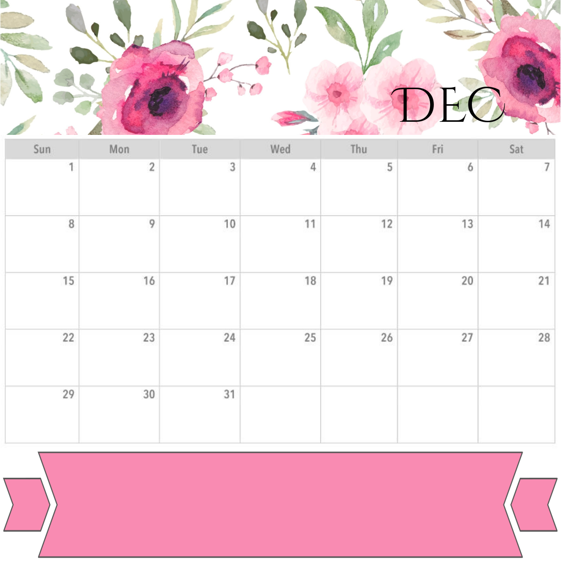 December 2019 Calendar Download
