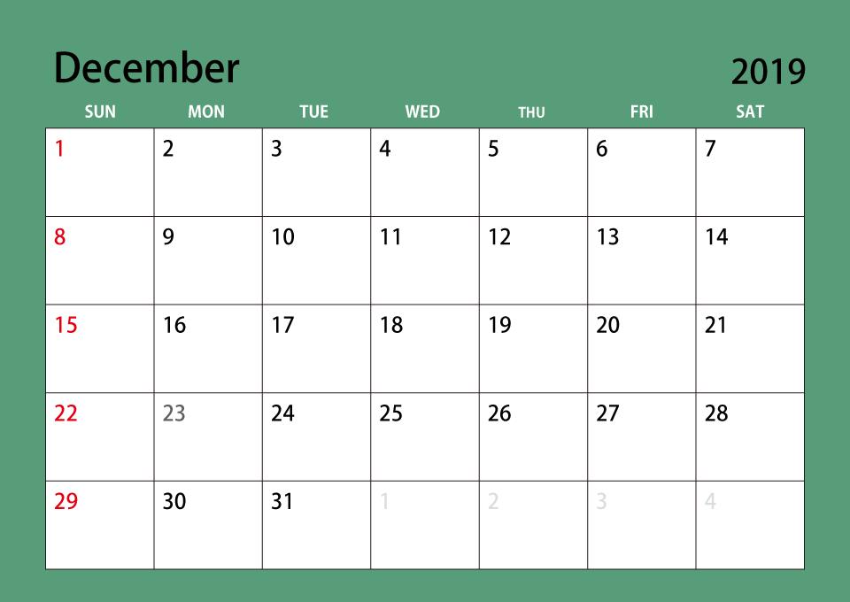 December 2019 Calendar Free Printable