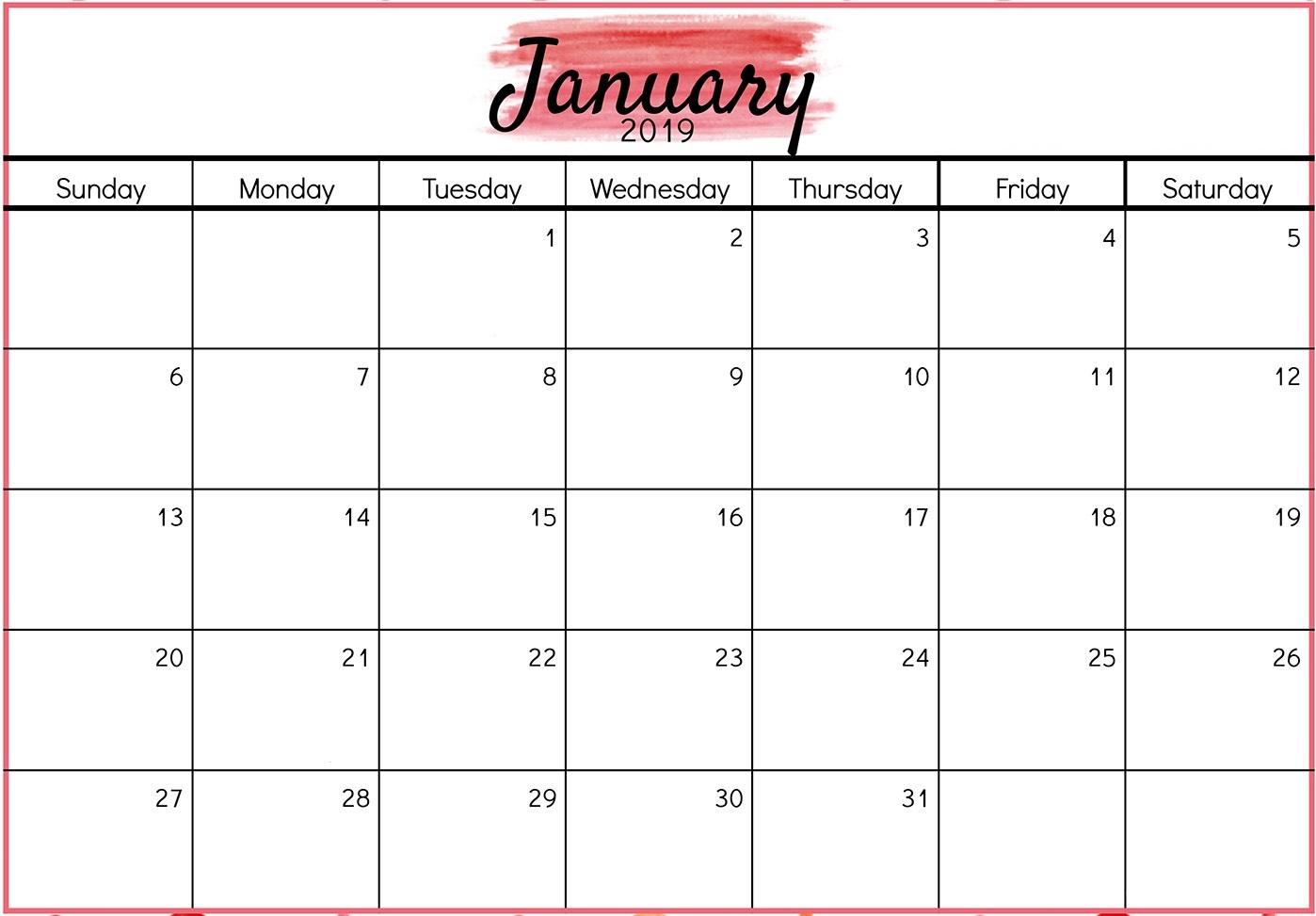 Editable January 2019 Calendar Word