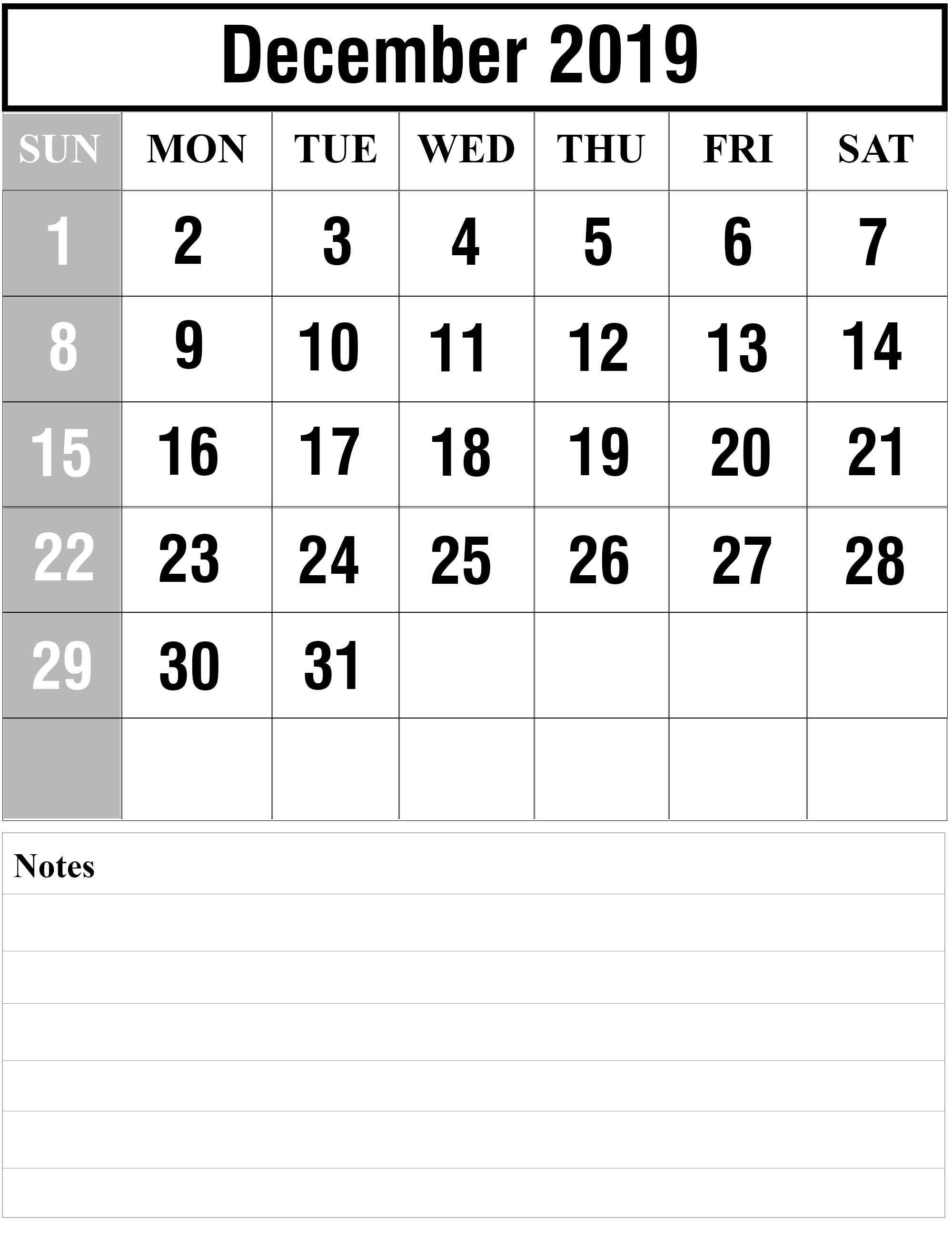Fillable December 2019 Calendar Notes Printable