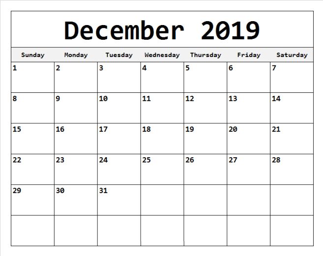 Free December 2019 Calendar Printable