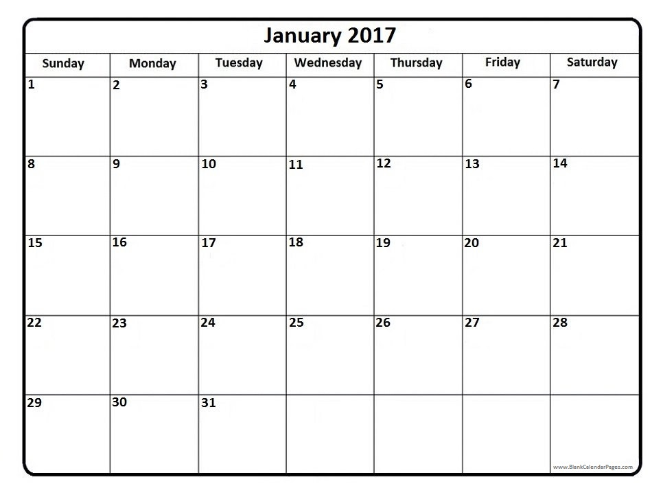 Free Printable January 2017 Calendar Word PDF Doc Excel Notes Templates