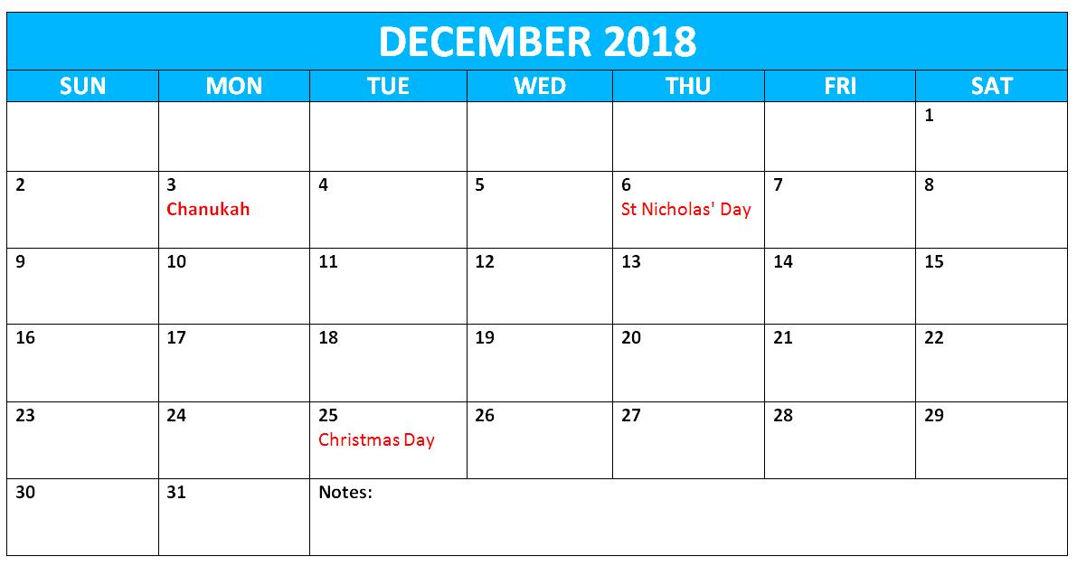 Holidays Calendar December 2018