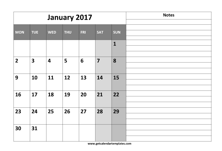 January 2017 Calendar Printable with Notes