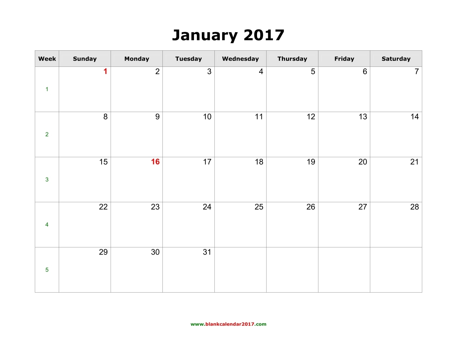 January 2017 Calendar Word Document