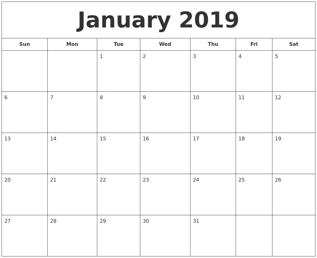 Printable Pretty January 2019 Calendar Pdf Free Printable January 2019 Calendar Word PDF Doc Excel Notes
