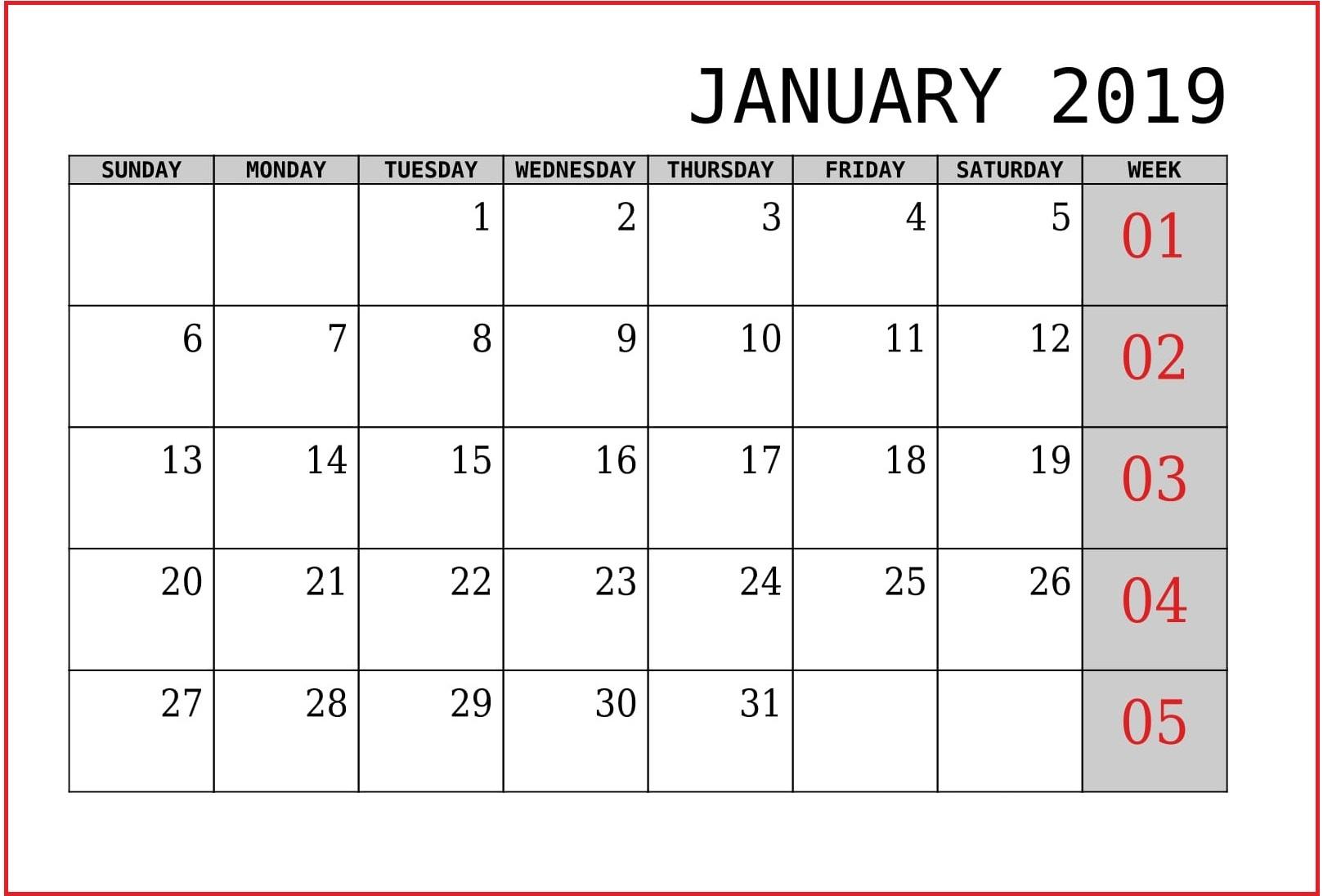 Printable January Calendar 2019 Template