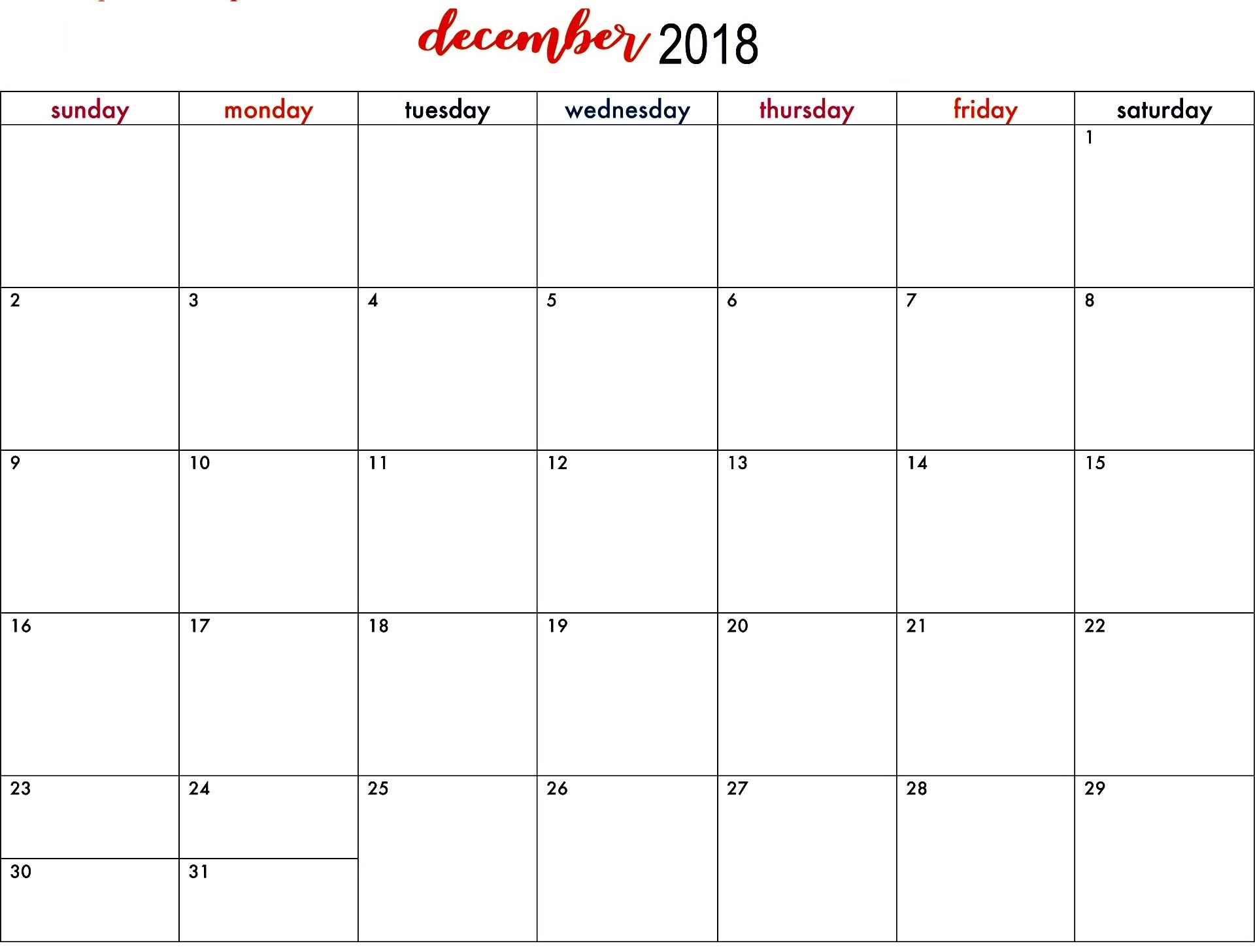 Print December 2018 Calendar With Holidays