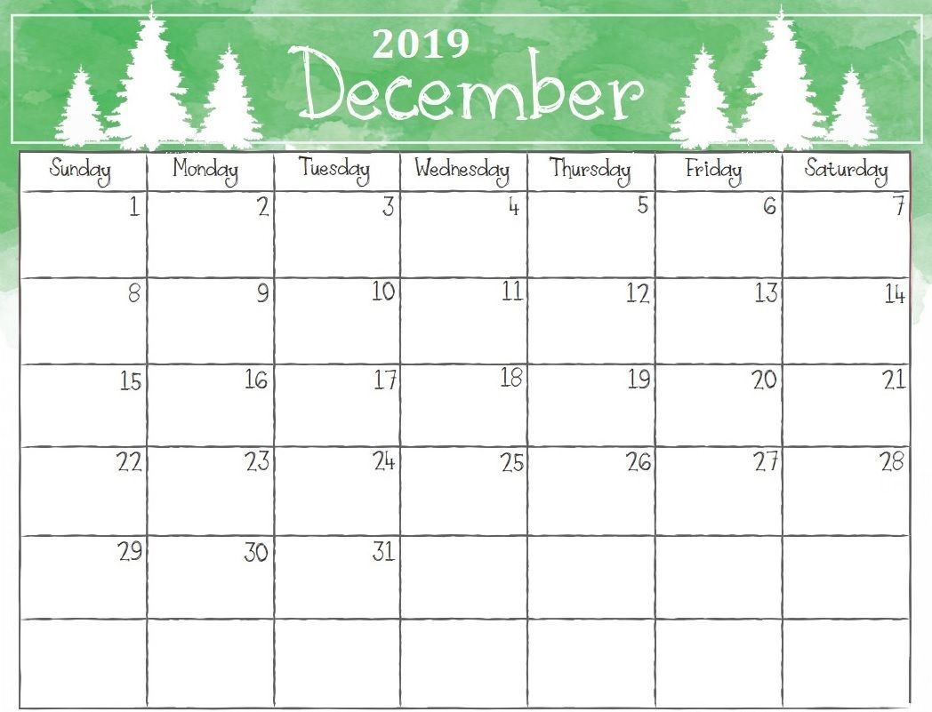 Watercolor December 2019 Calendar