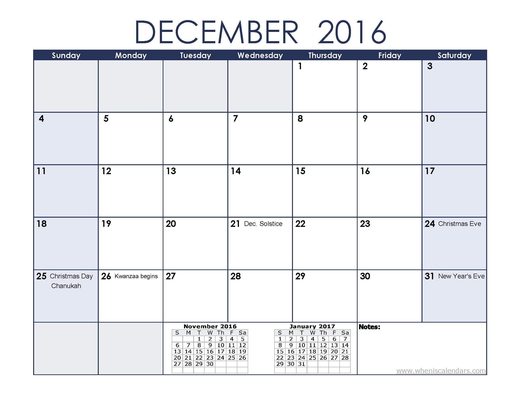 December 2016 Holidays Calendar