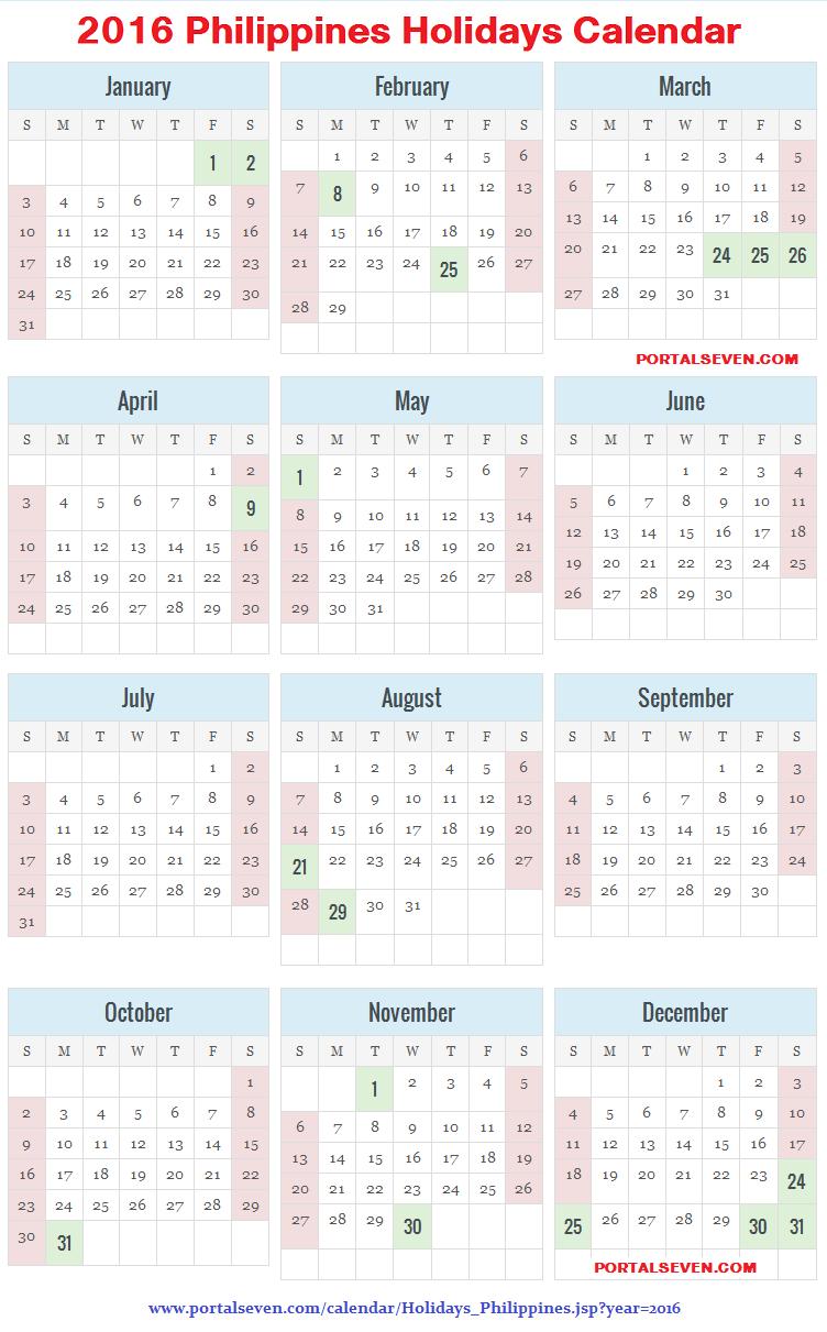 December 2016 Holidays Philippines