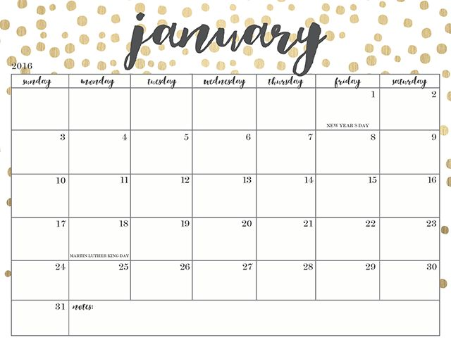 Free Printable January 2017 Calendar Word PDF Doc Excel Notes ...