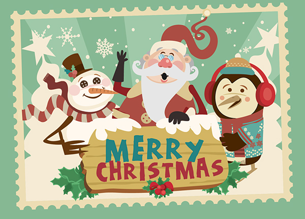 merry christmas cartoon characters