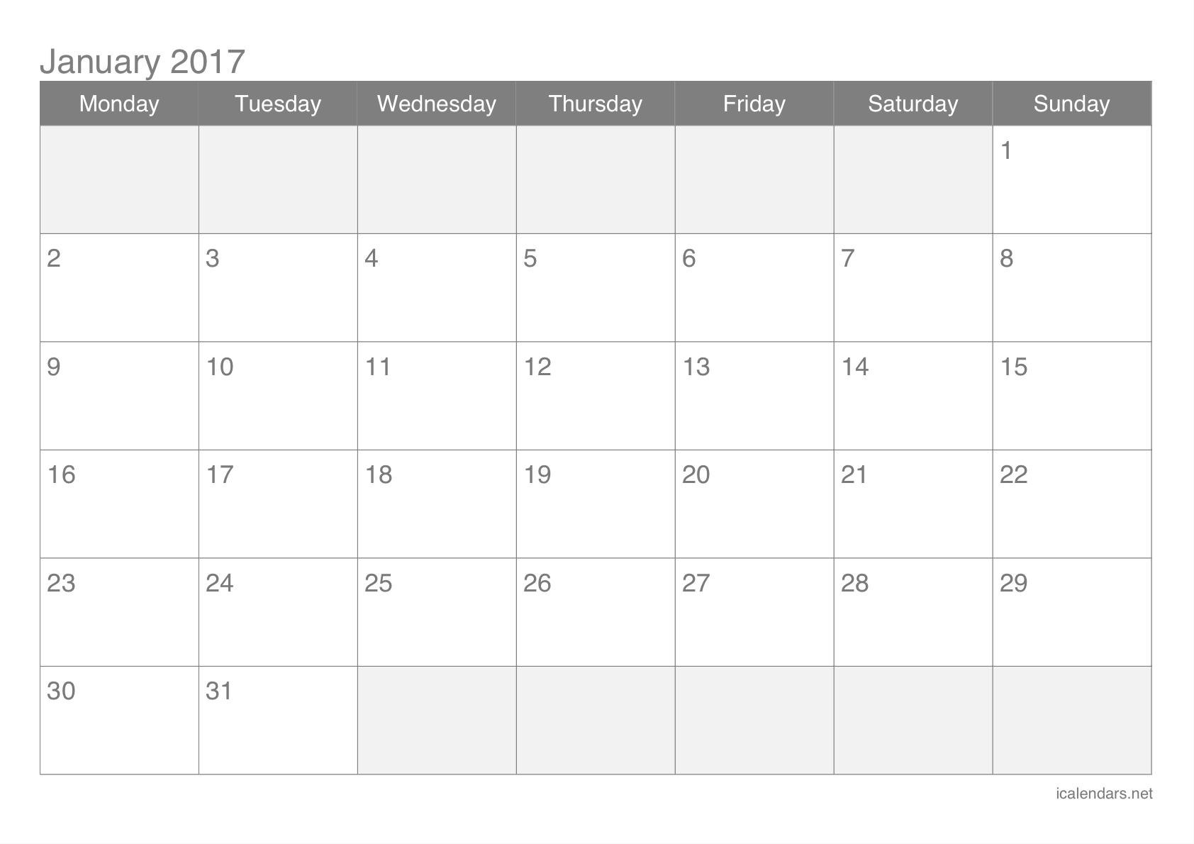 2017 Blank January Calendar Template