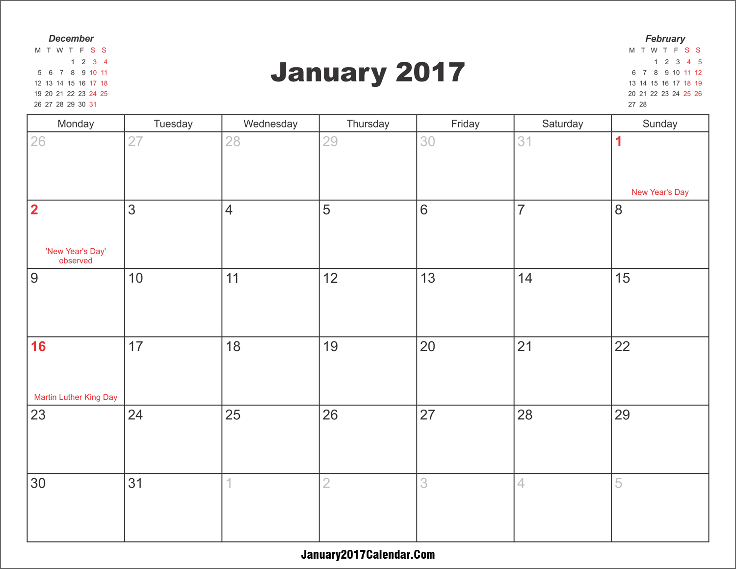 Blank Calendar January 2017 Template Printable