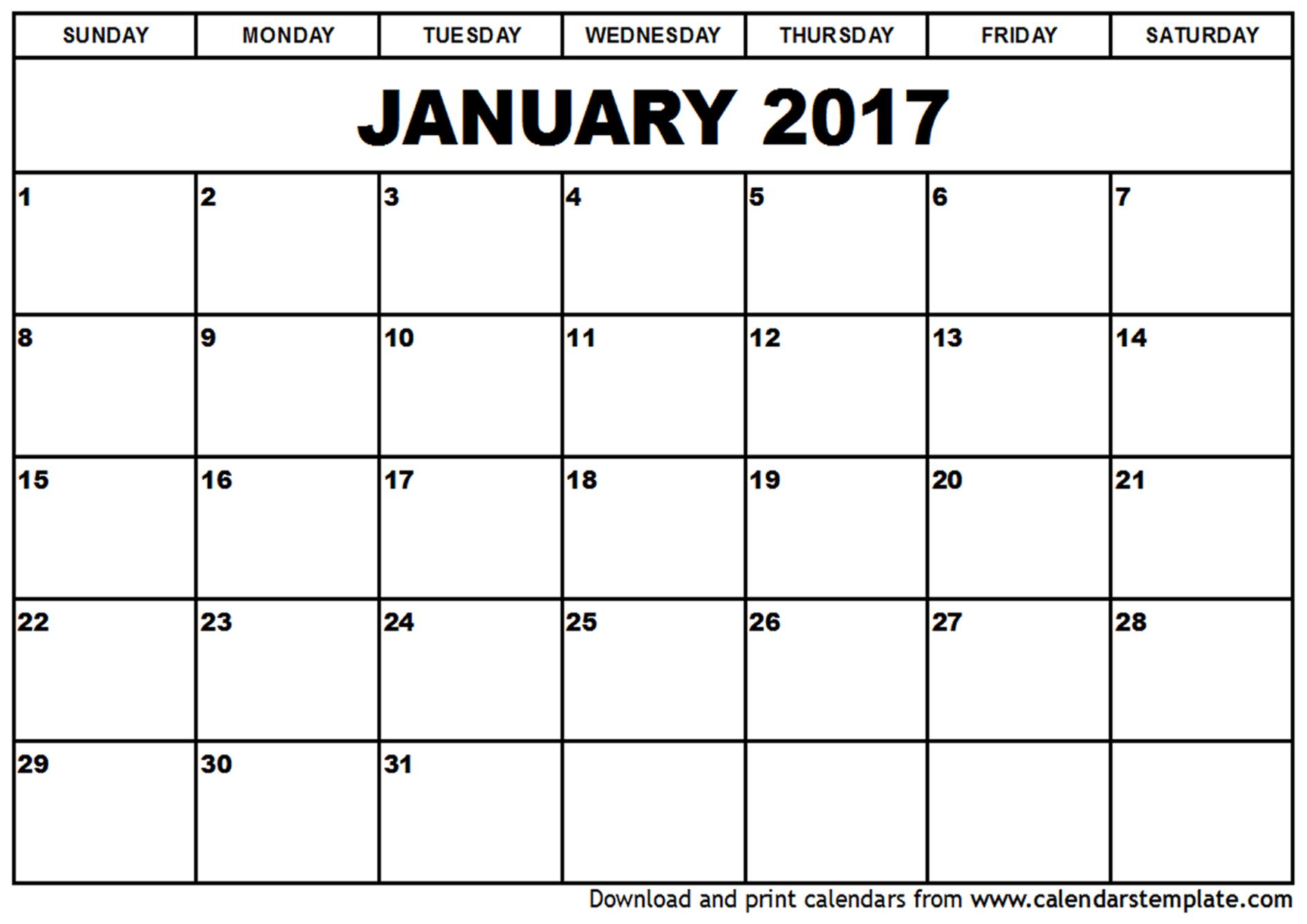 Blank January 2017 Calendar Templates