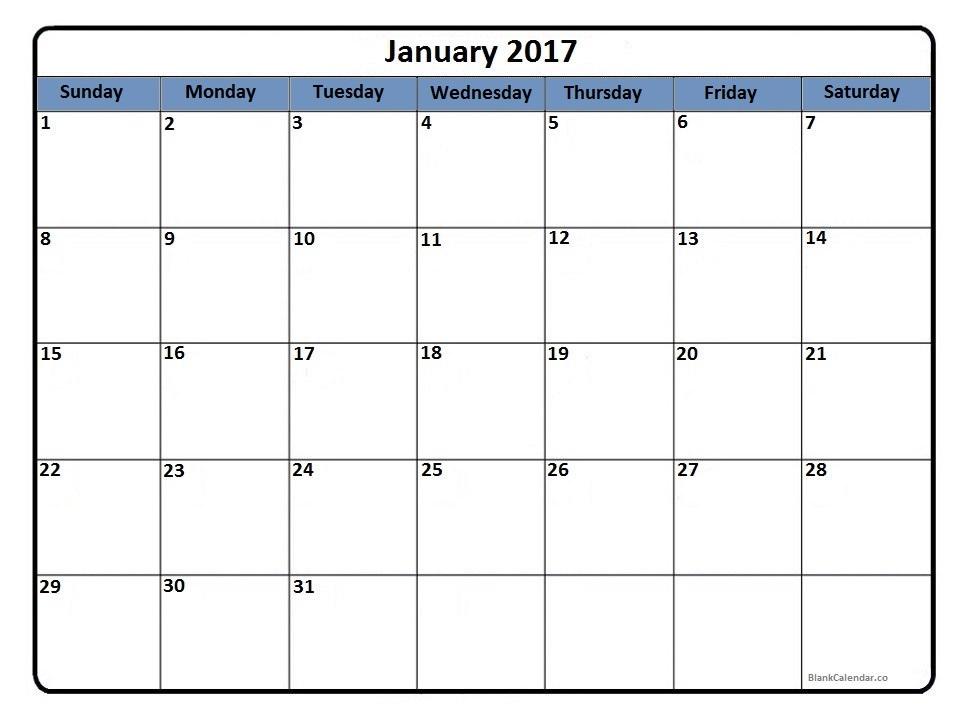 January 2017 blank calendar printout