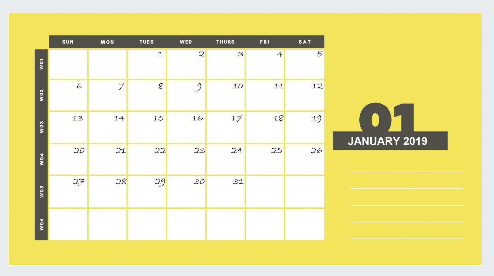 January 2019 Blank Calendar Printable