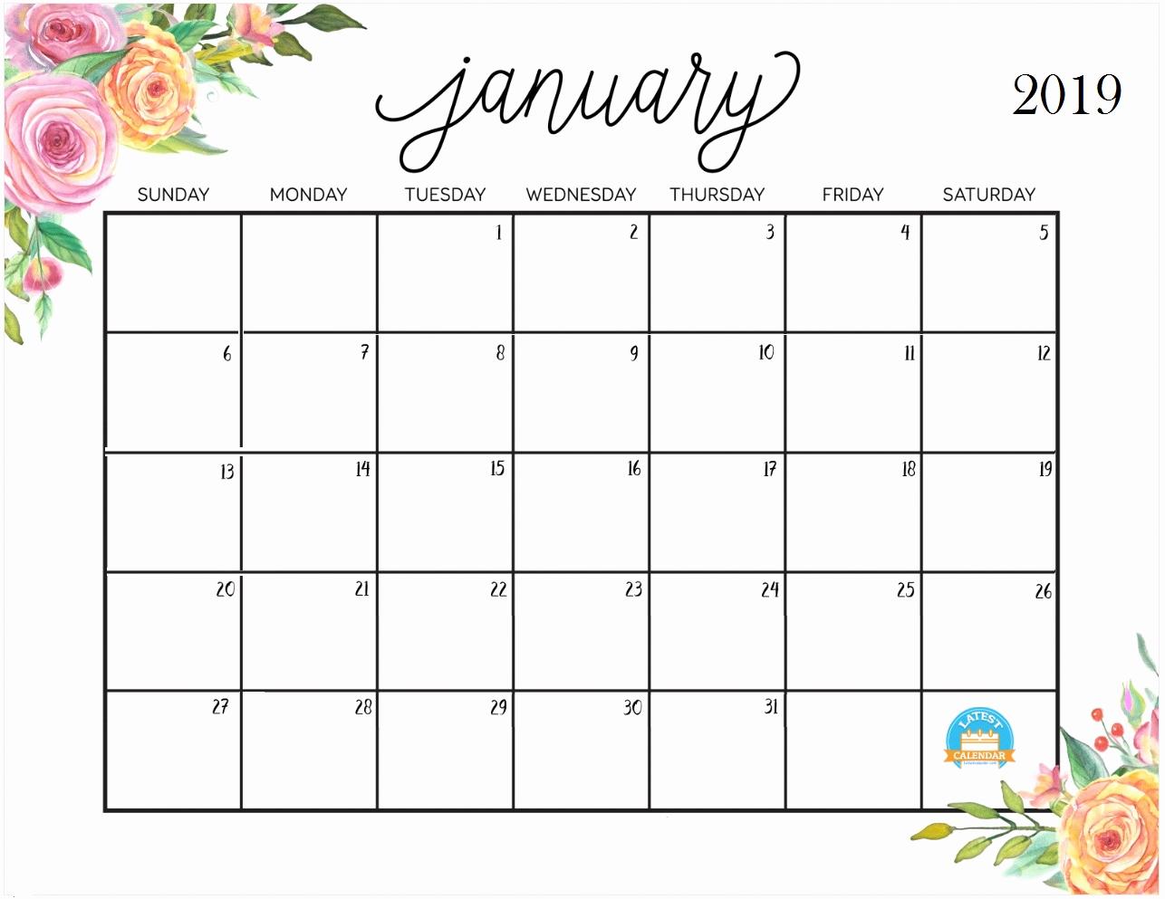 Calendar printable january 2019 calendar