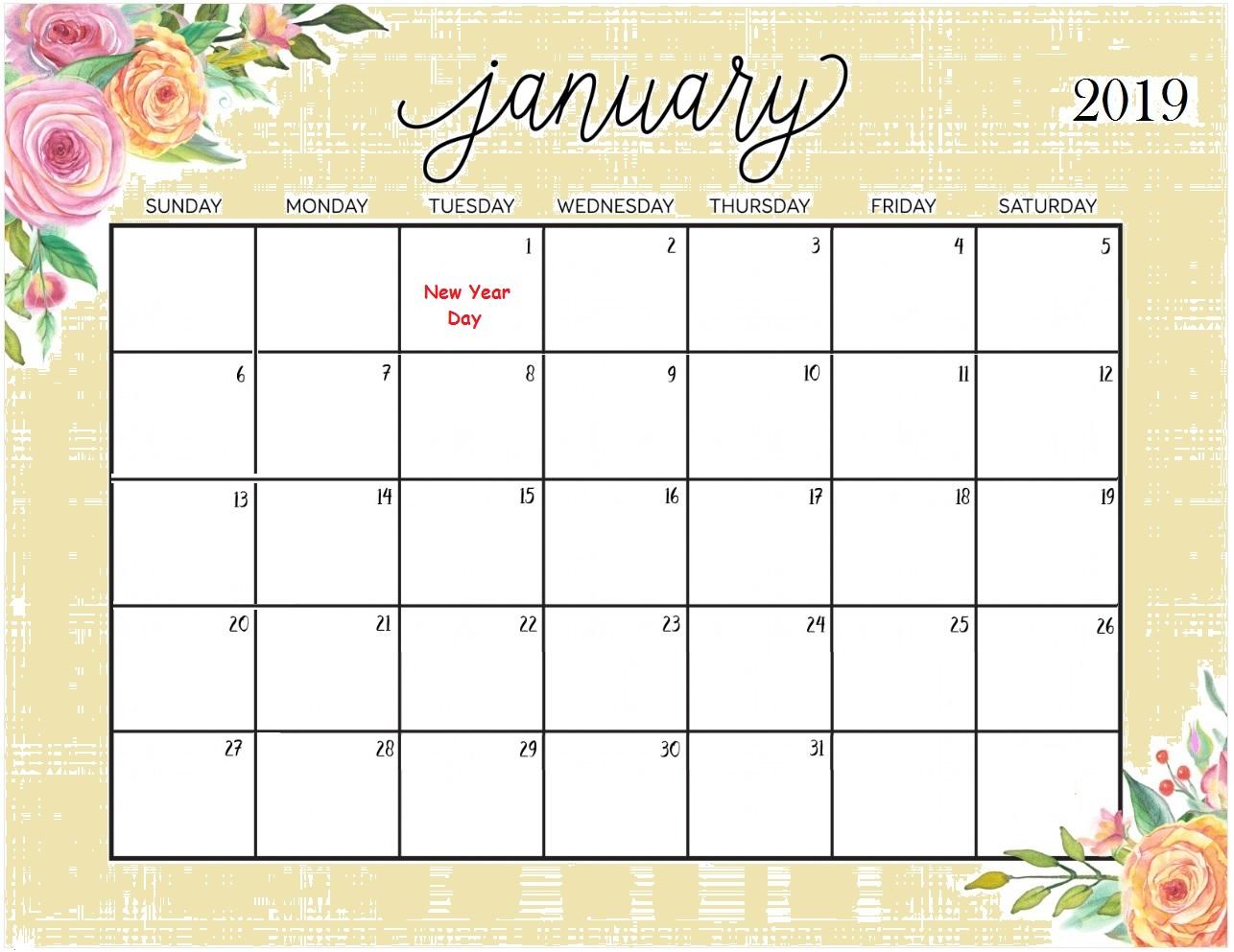 January 2019 Blank Calendar Template