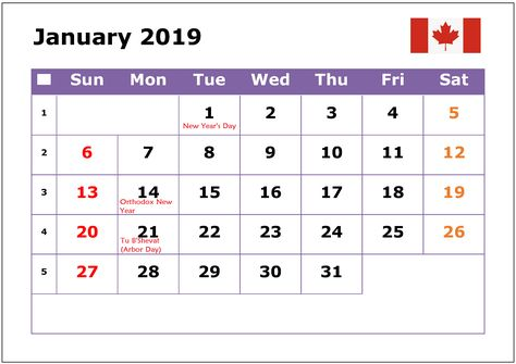 January 2019 Calendar Canada School Holidays