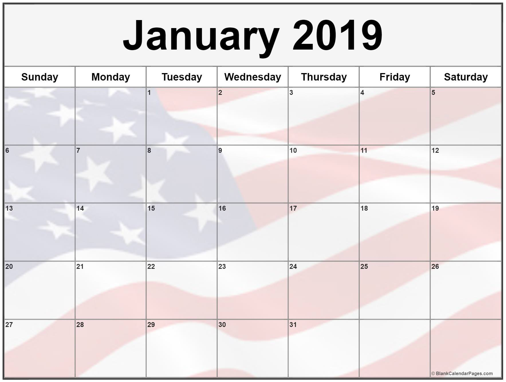 January 2019 Calendar US Flag