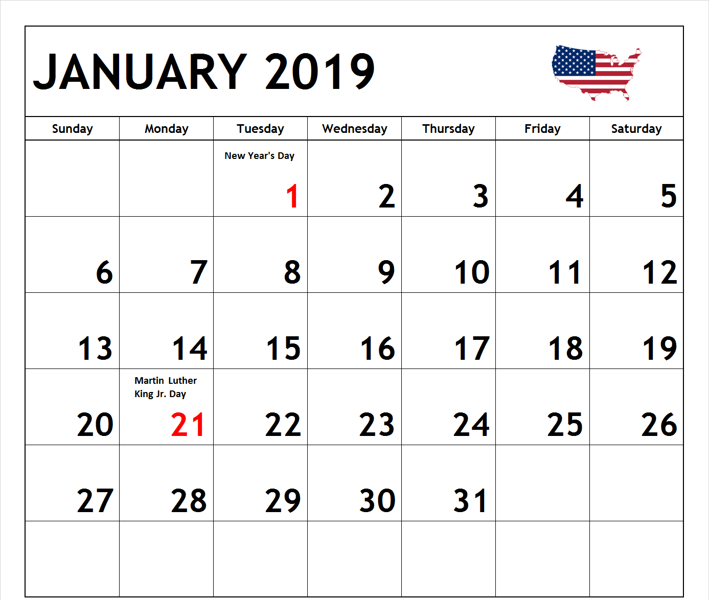 January 2019 Calendar US Holidays