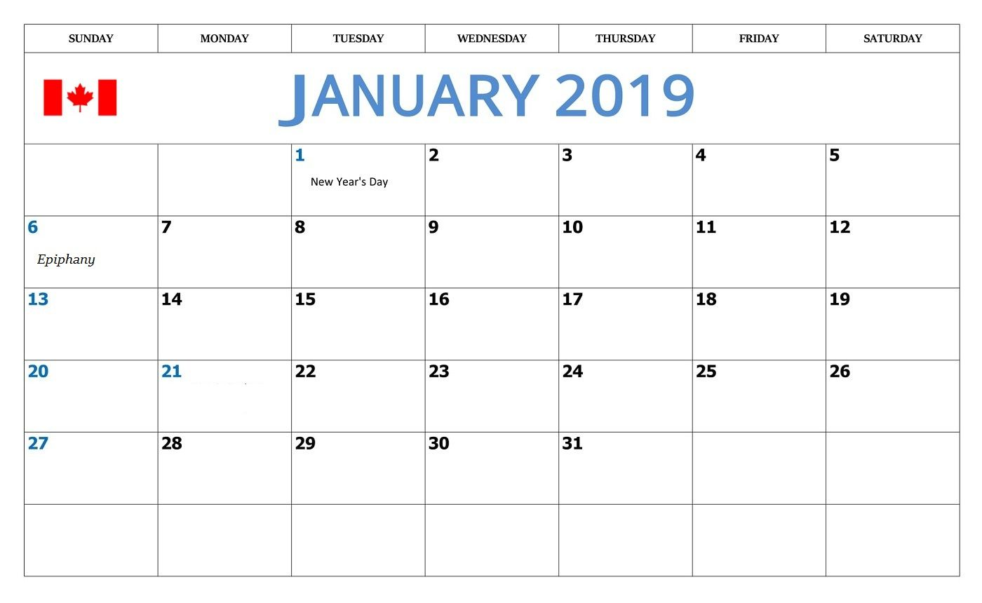 January 2019 Calendar With Holidays Canada