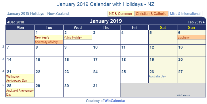 January 2019 Calendar with Holidays NZ