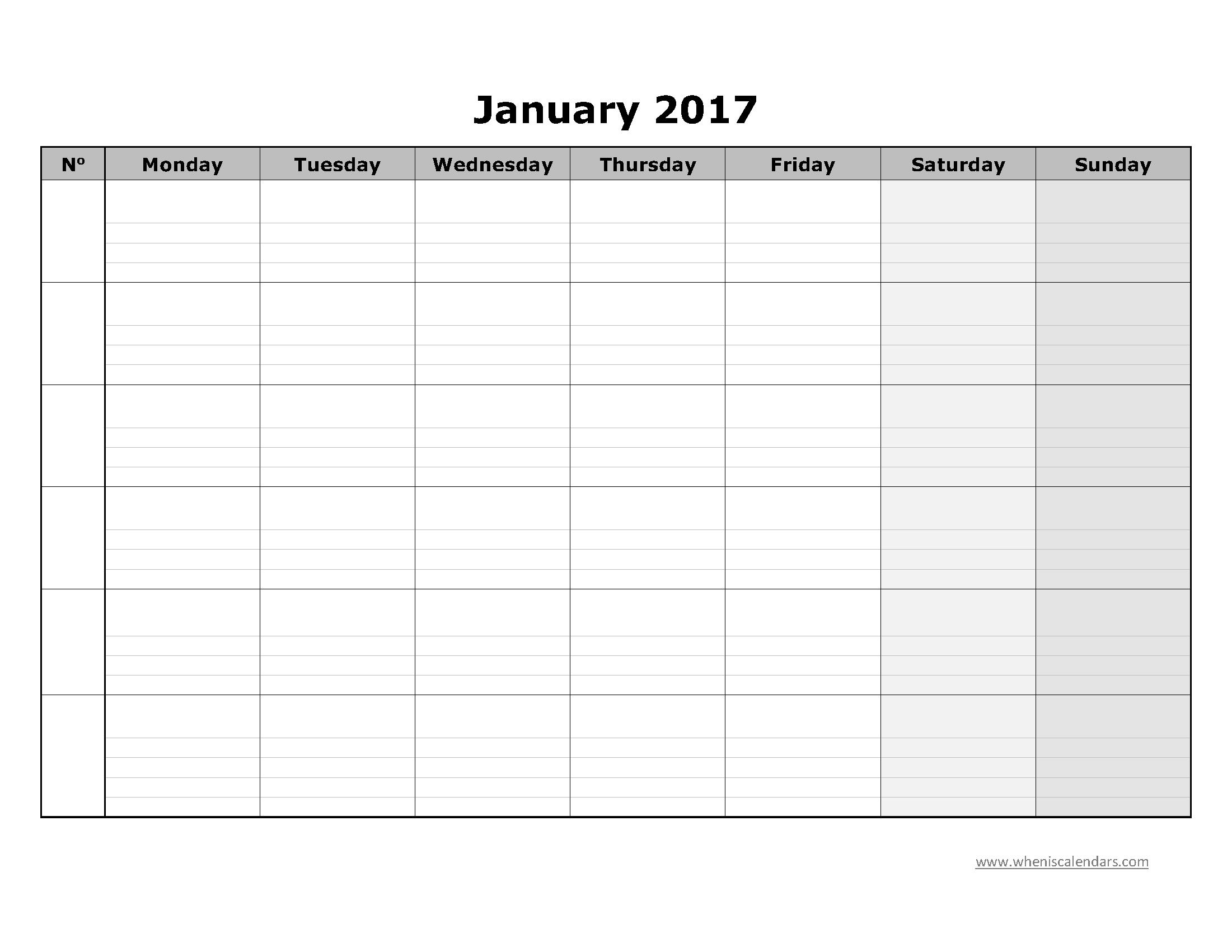 blank january 2017 calendar printable