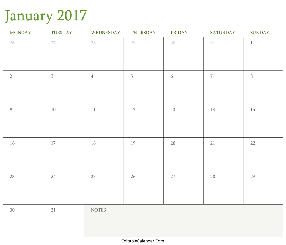 blank january 2017 calendar template