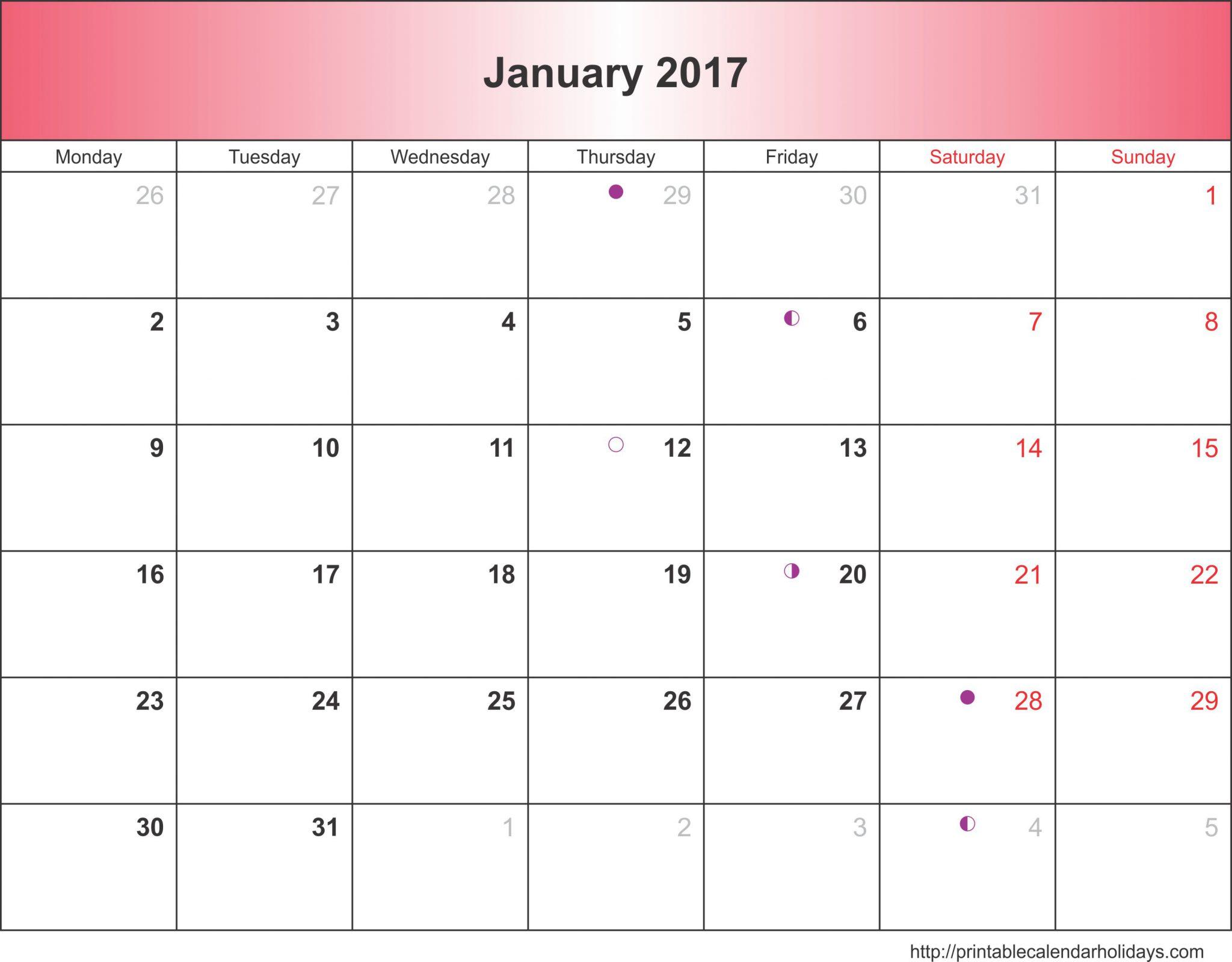 Blank January 2017 Calendar Templates - Free 2017 Calendar ...