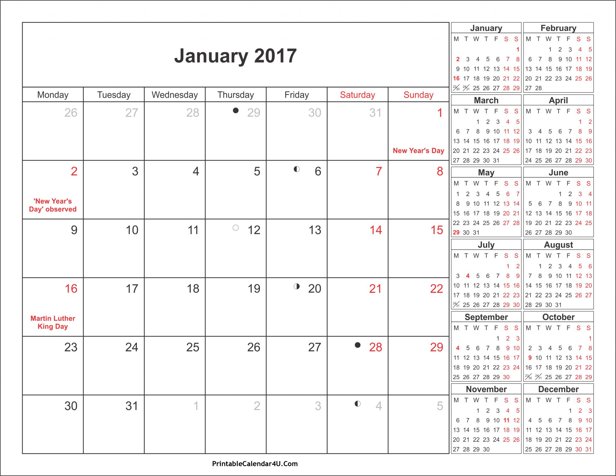 january 2017 calendar with holidays canada