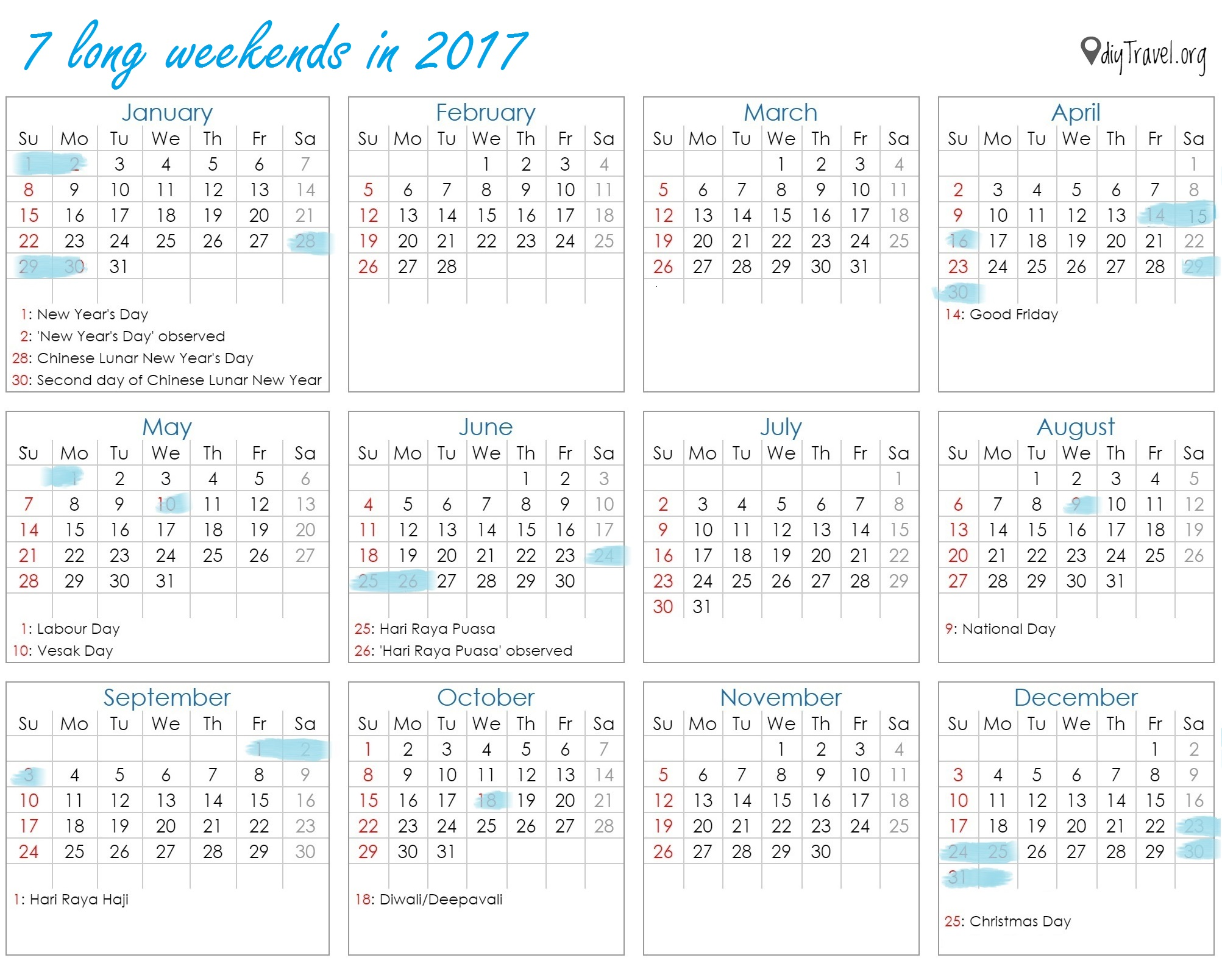 january 2017 calendar with holidays singapore