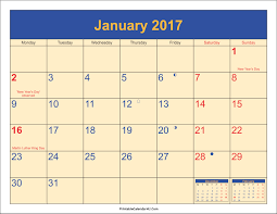 january 2017 holidays