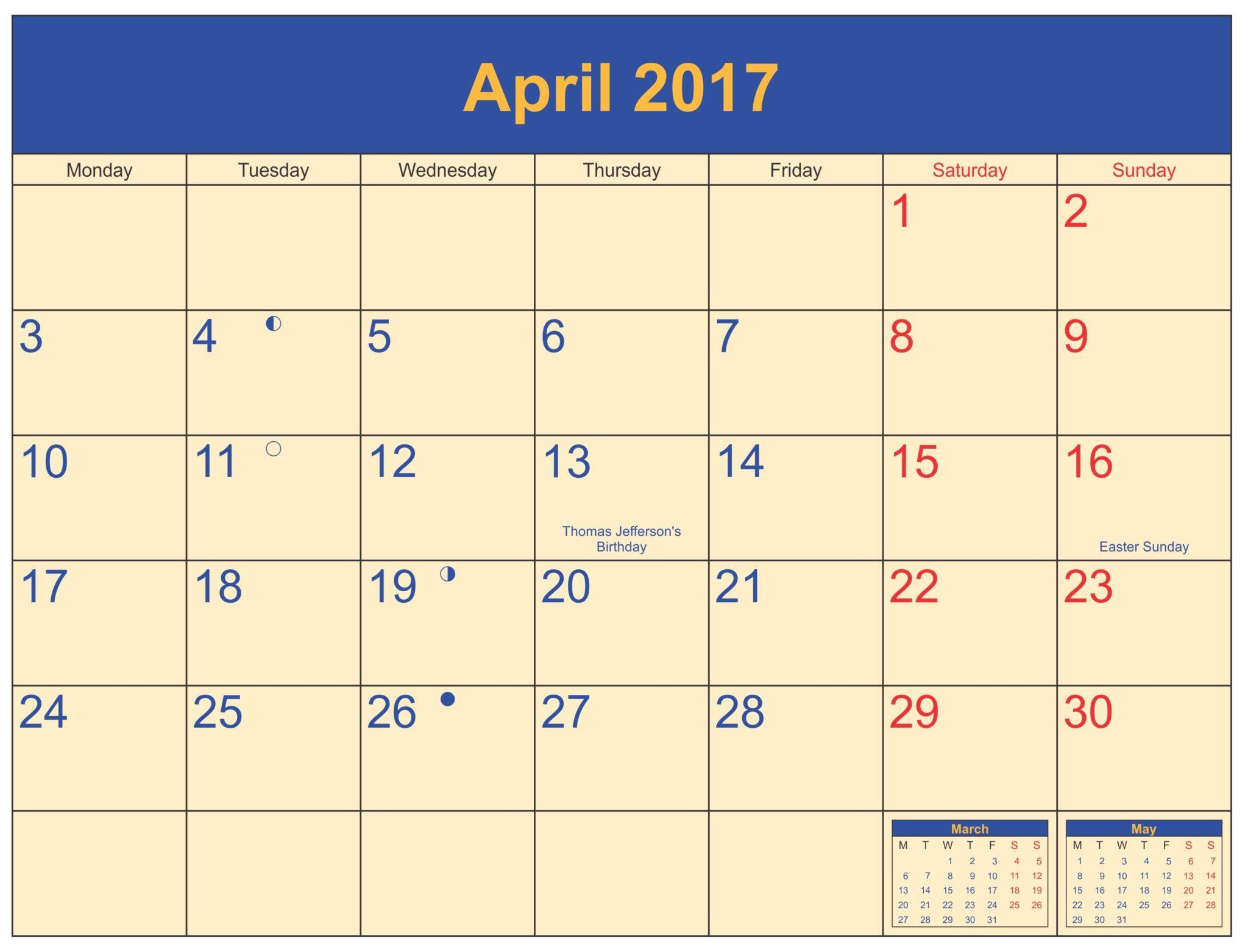 April 2017 Calendar Document
