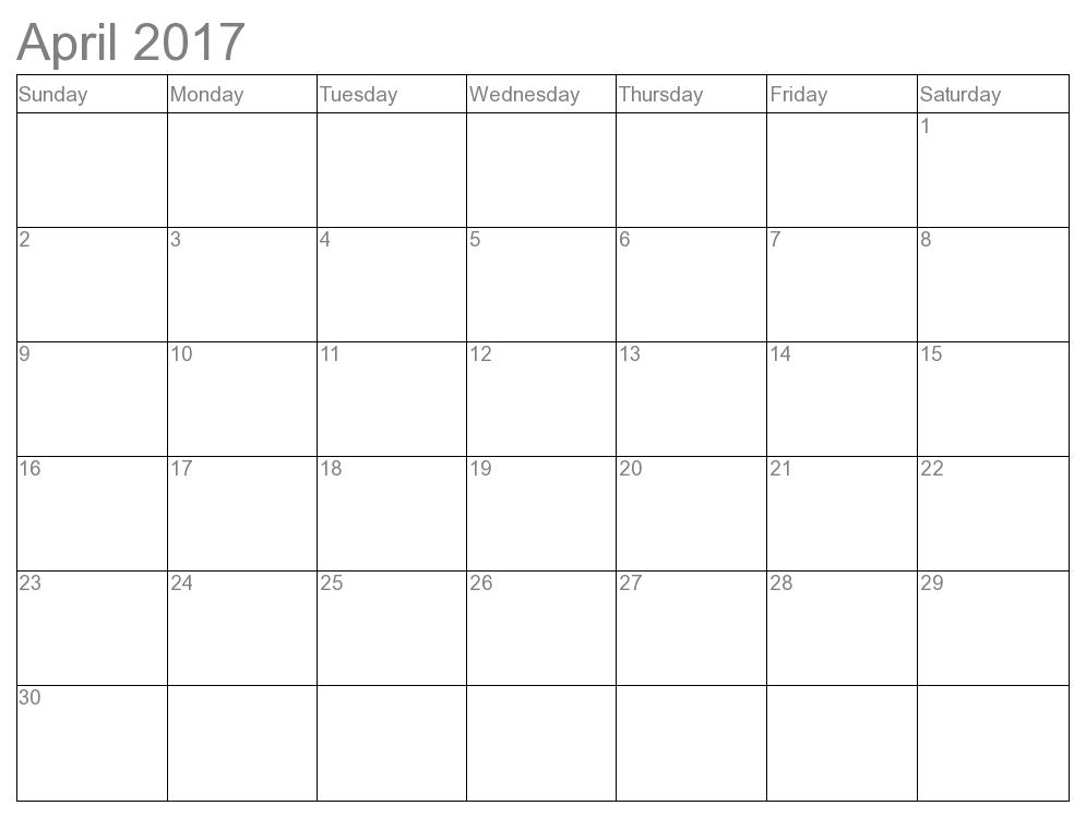 April 2017 Calendar Template Excel