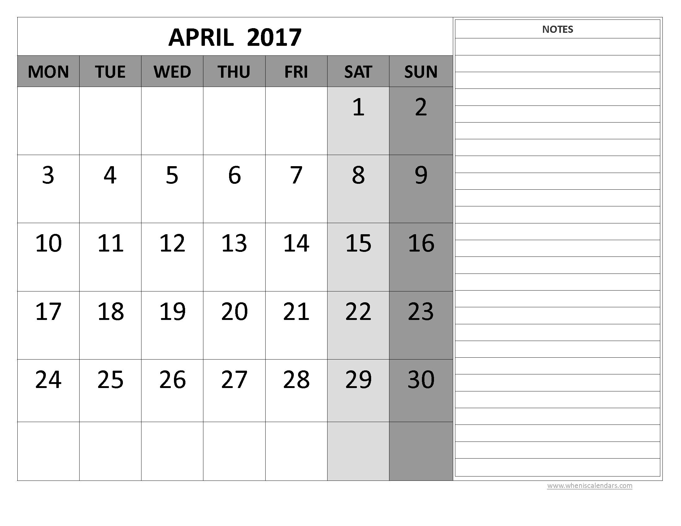 April 2017 Calendar Word Template