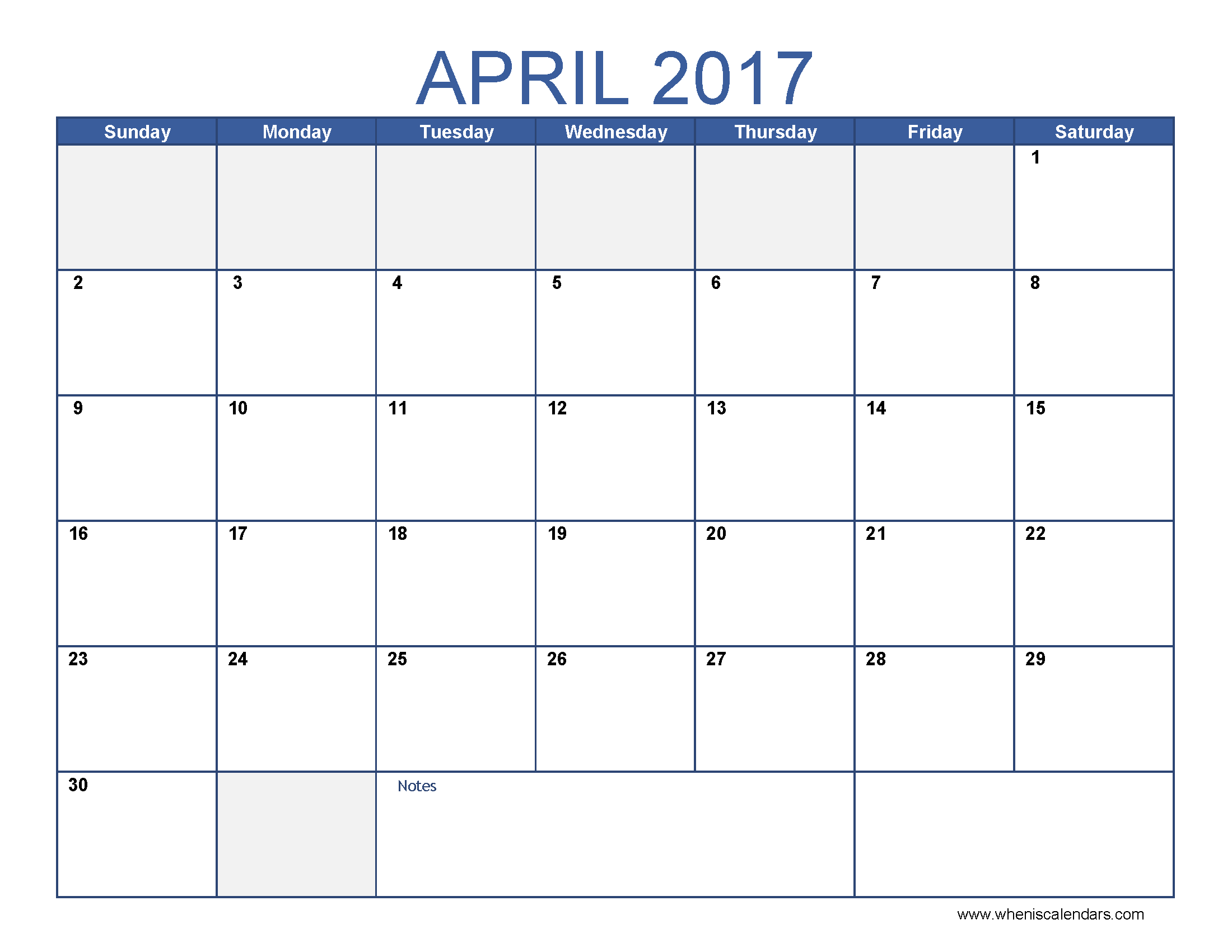 Free April 2017 Calendar Printable Word PDF Doc Excel Notes – Notes Template Word