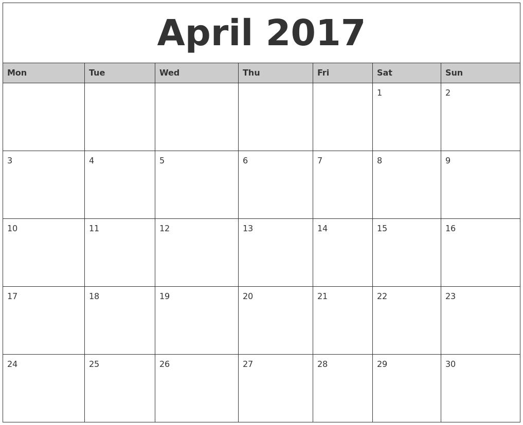April 2017 Monthly Calendar Printable Template