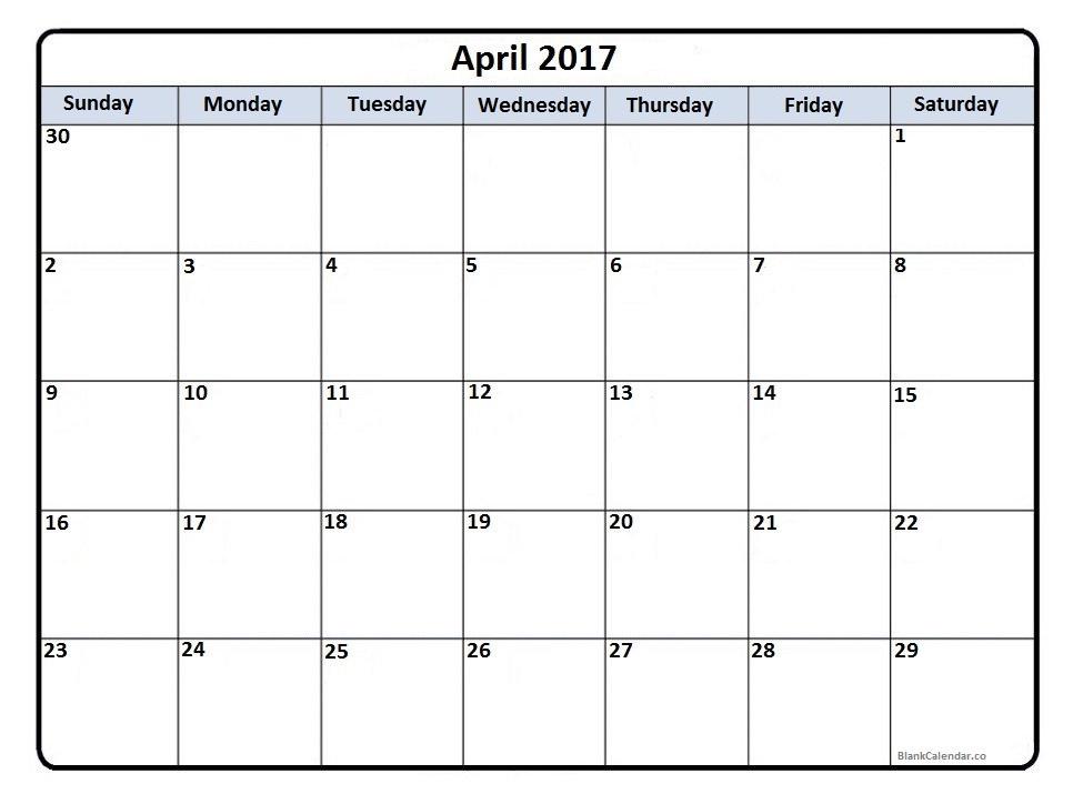 April December 2017 Calendar Excel