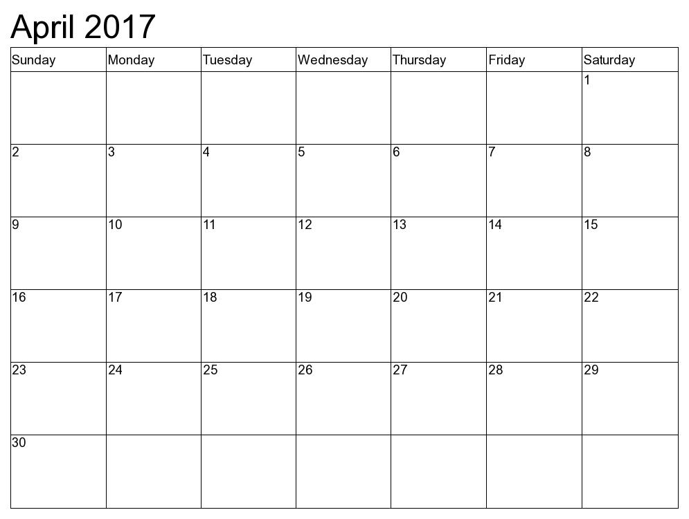 Blank April 2017 Calendar Templates
