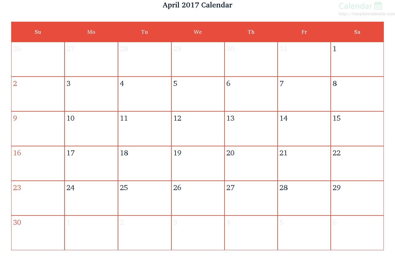 Blank Calendar April 2017